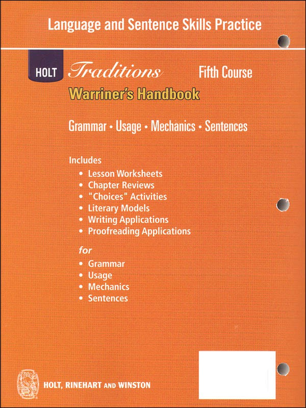 Holt Traditions Warriners Handbook Language And Sentence Skills