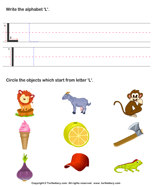 Identify Words That Start With L Worksheet
