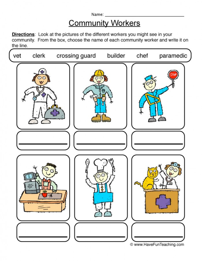 Identifying Community Workers Worksheet  Have Fun Teaching