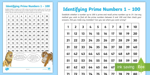 Identifying Prime Numbers To  Worksheet Teacher Made