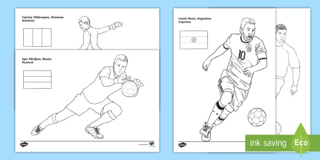 International Footballers Coloring Pages Englishspanish