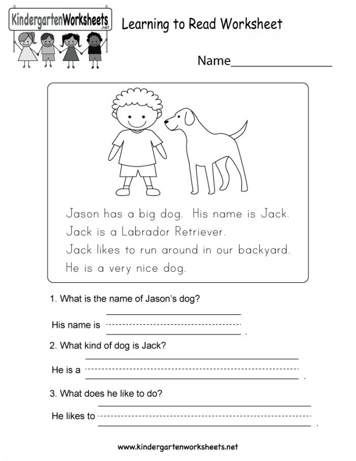 Learning To Read Worksheet
