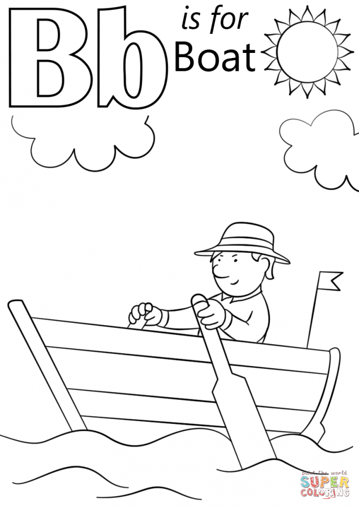 Letter B Is For Boat Coloring Page