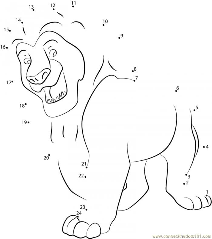 Lion King Simba Dot To Dot Printable Worksheet