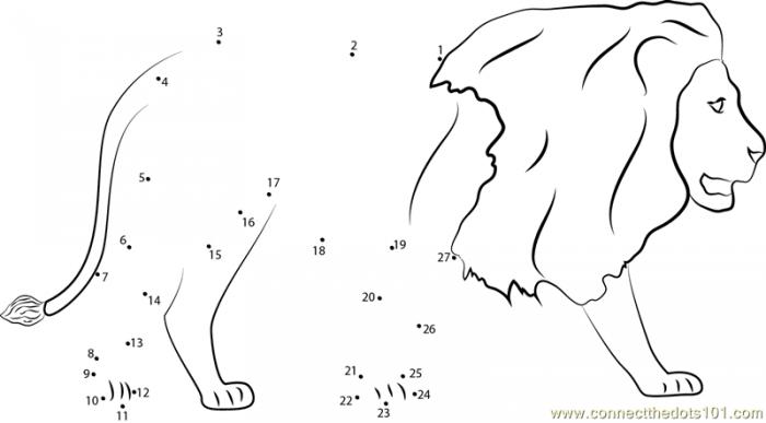 Lions Walking Dot To Dot Printable Worksheet