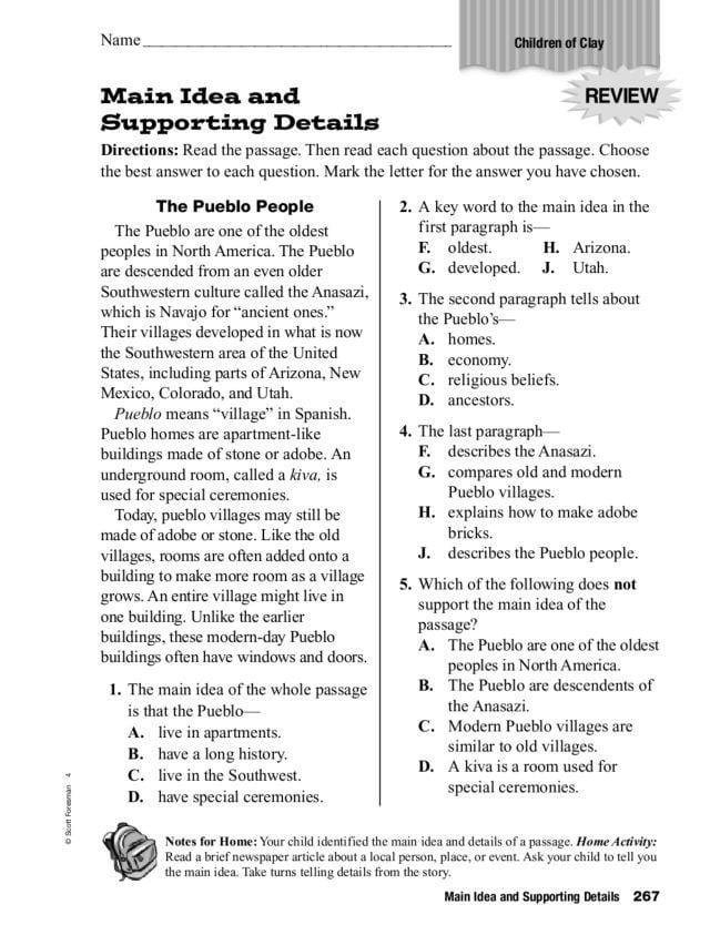 Main Idea Multiple Choice Worksheets   99Worksheets
