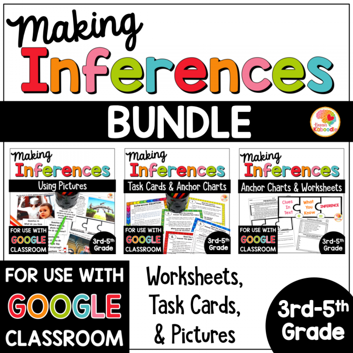 Making Inferences Task Cards  Worksheets  And Pictures Bundle