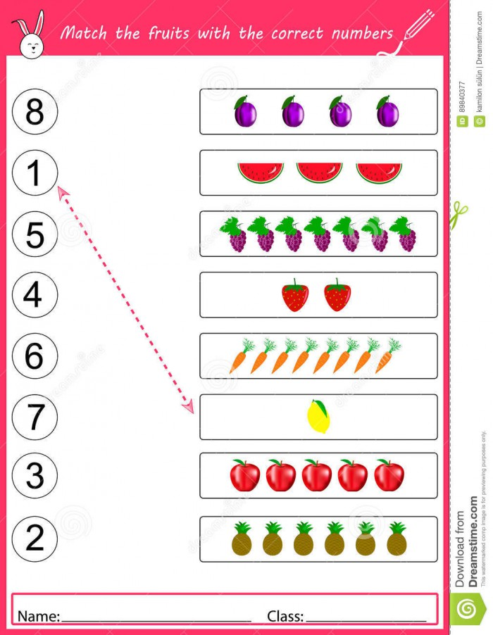 Match The Fruits With The Correct Numbers Stock Vector