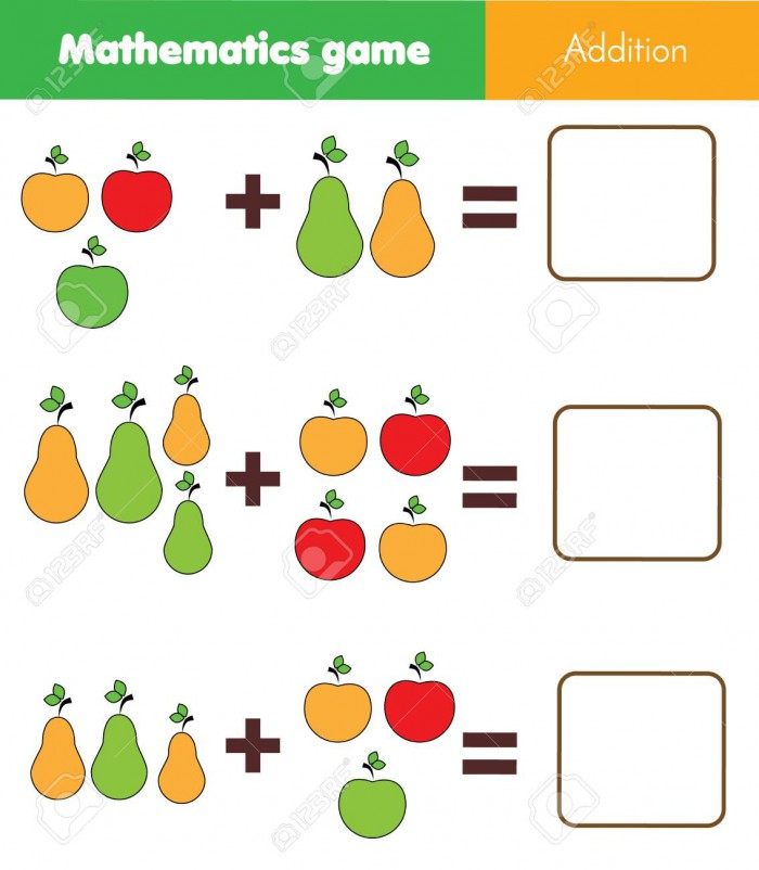 Math Educational Game For Children Counting Equations Addition