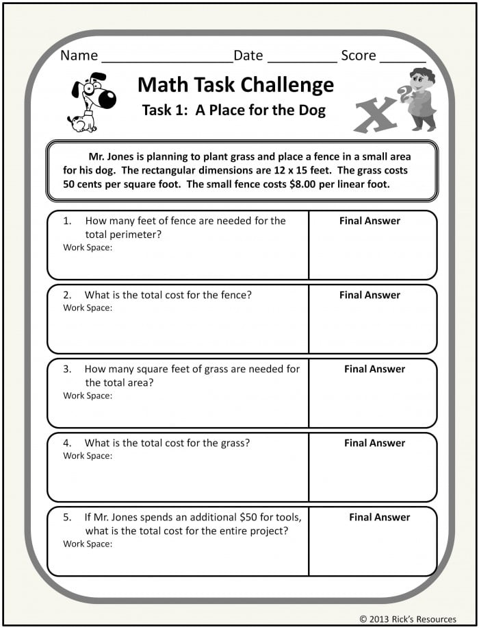 Math Word Problem Worksheets Distance Learning Homeschool Ready