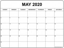 May 2020 Calendar: Days And Dates