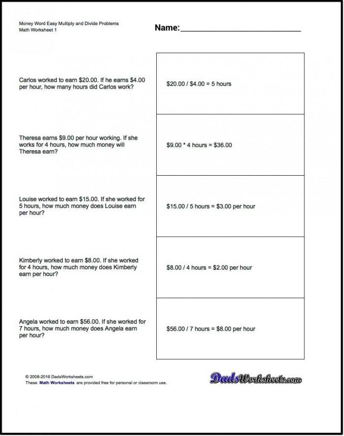 Multiplication Worksheet And Division Worksheet Money Word