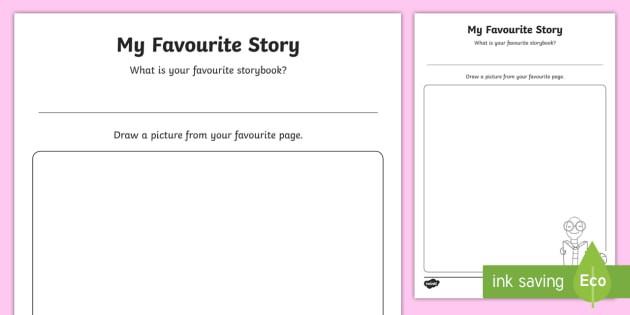My Favorite Story Drawing Worksheet  Worksheet