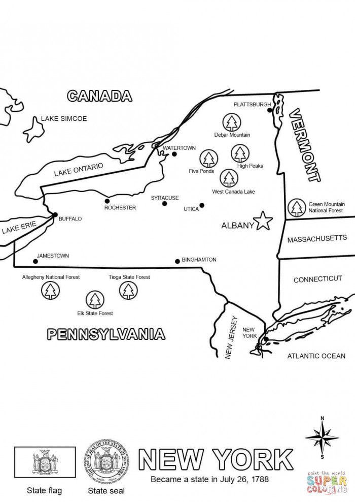 New York Map Coloring Page