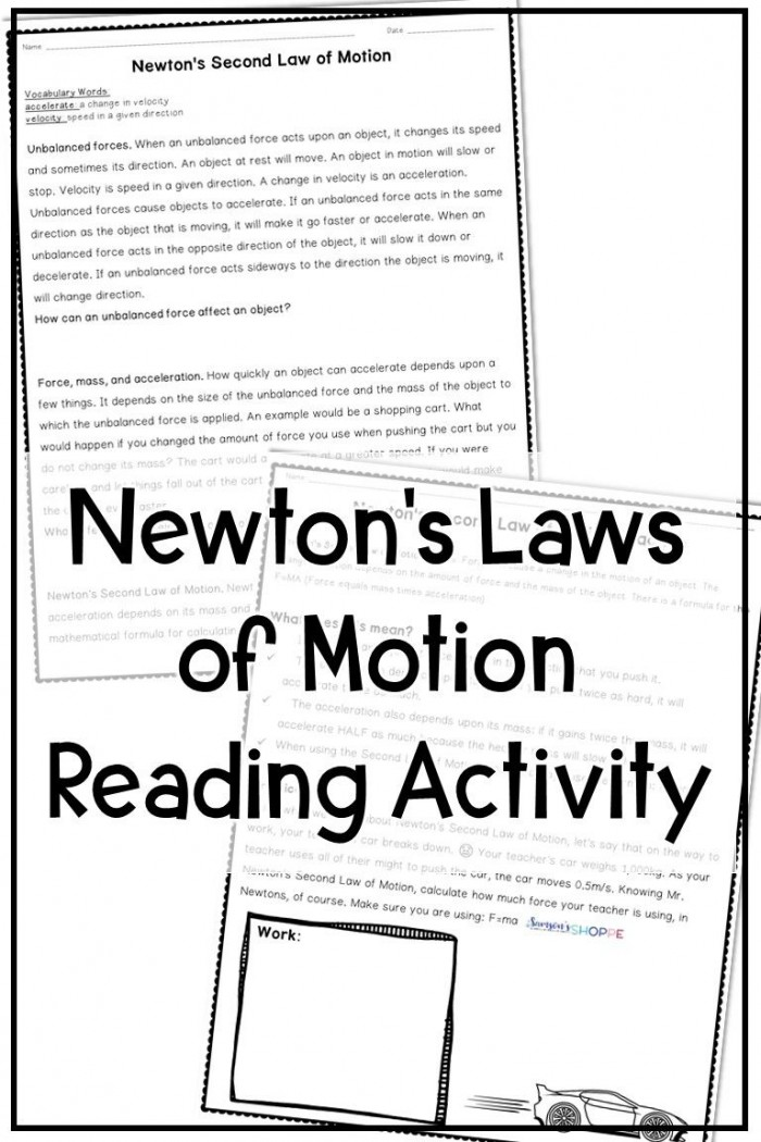 Newtons Laws Of Motion Activity With Images