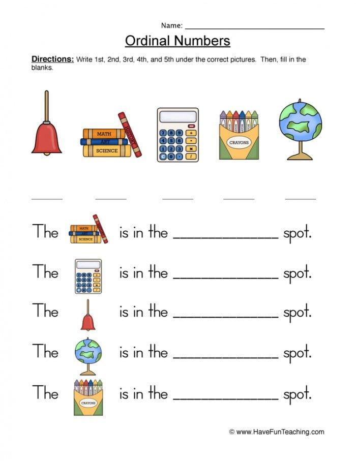 Ordinal Numbers Descriptions Worksheet  Have Fun Teaching