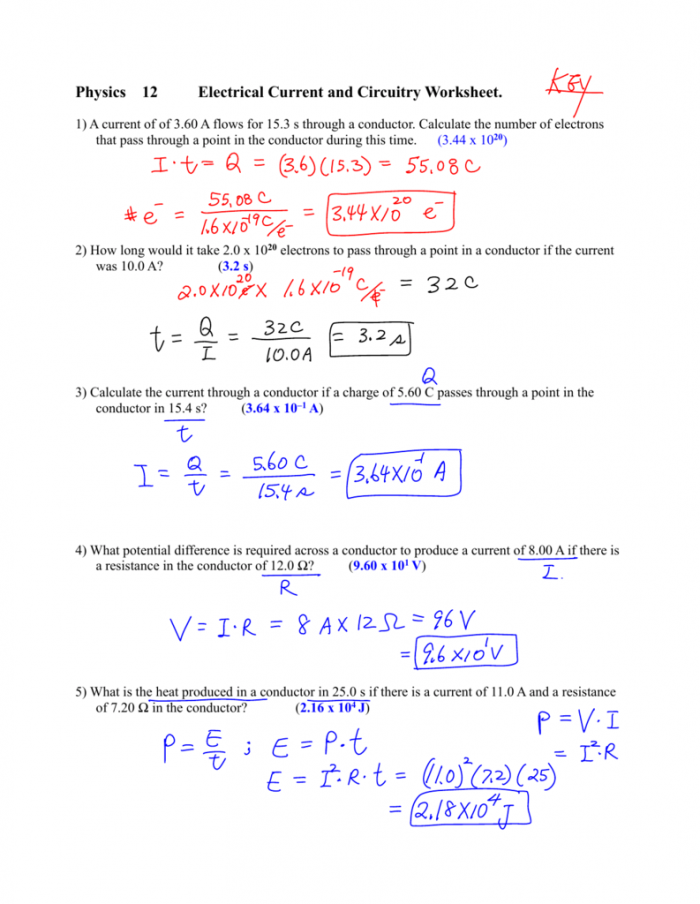Physics  Electrical Current And Circuitry Worksheet