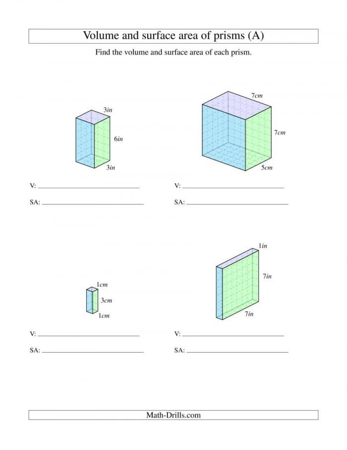 Volume And Surface Area Of Rectangular Prisms With Whole Numbers A