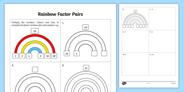 Rainbow Factor Pairs Teacher Made