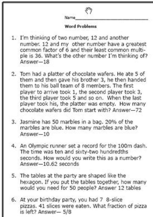 Realistic Math Problems Help Th