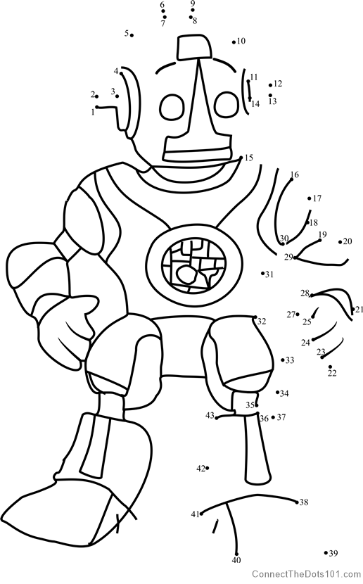 Robot Roscoe Dot To Dot Printable Worksheet