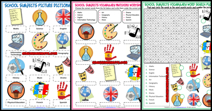 School Subjects Esl Printable Vocabulary Worksheets