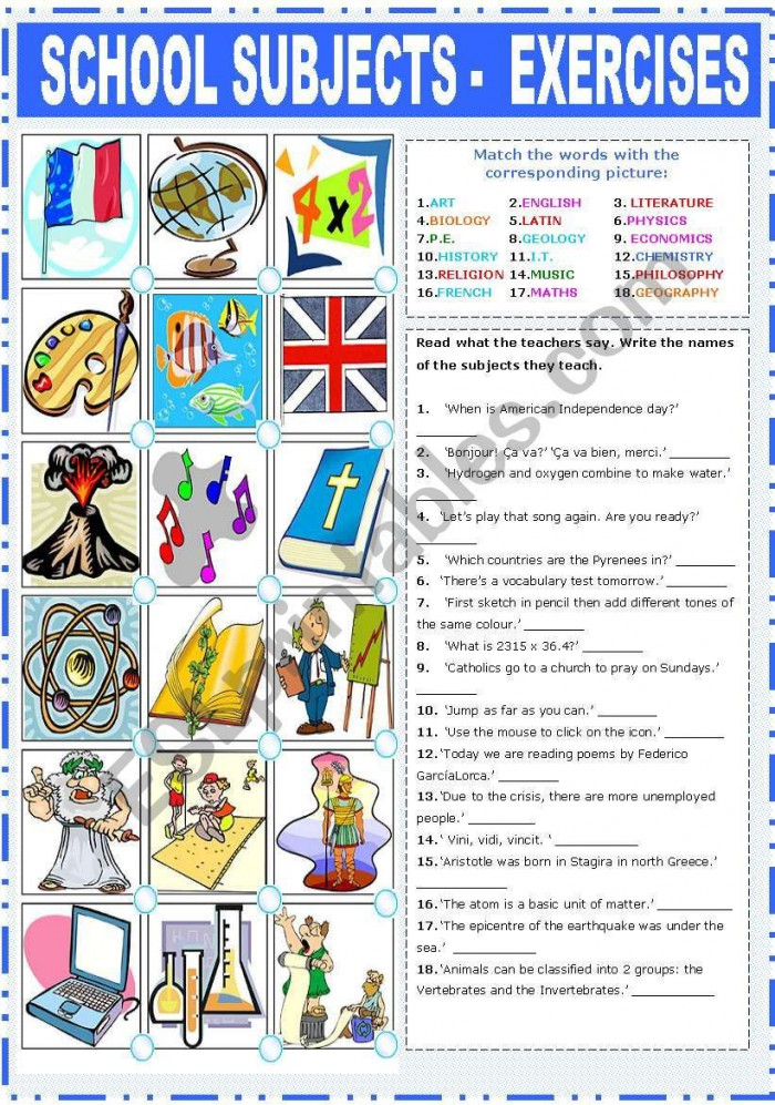 Second Part Of A Set Of Three Worksheets About School Subjects