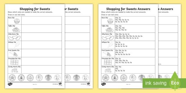Shopping For Sweets Worksheet  Worksheet Teacher Made