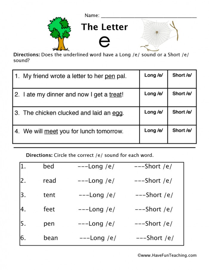 Short And Long Vowel E Worksheet  Have Fun Teaching