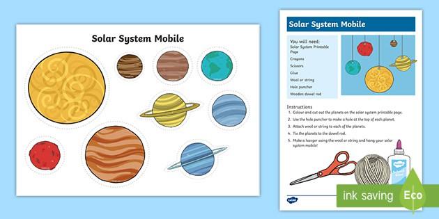 Solar System Mobile Craft Activity Teacher Made