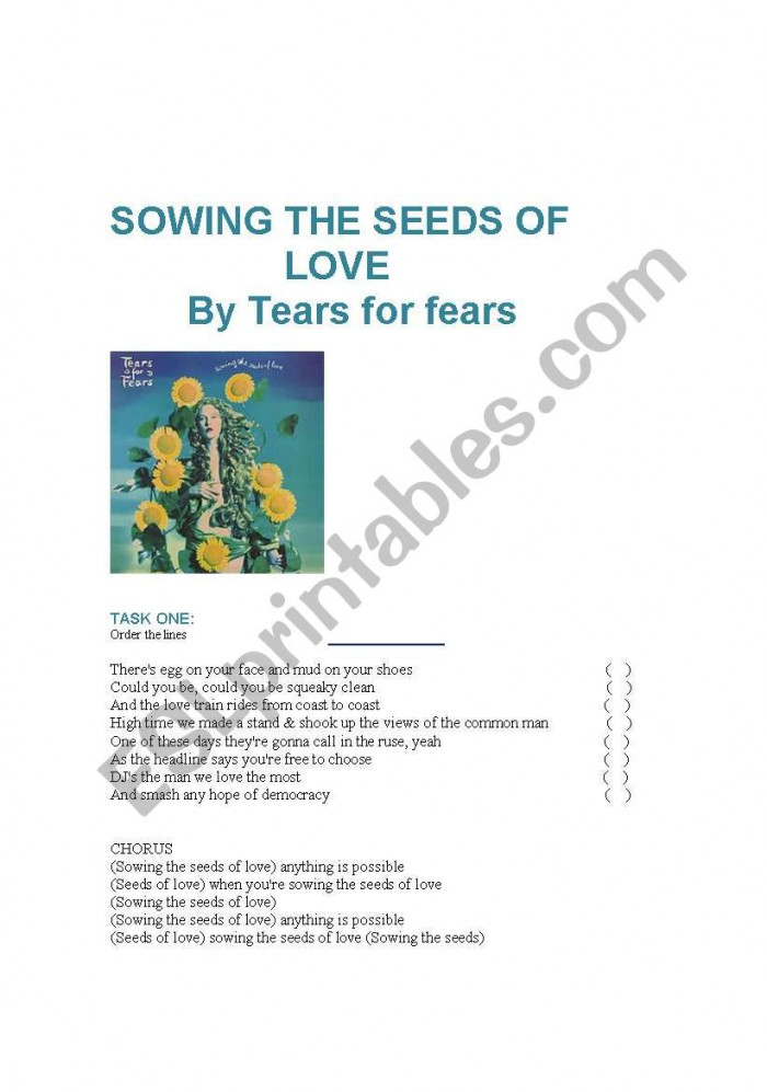 Song Sowing The Seeds Of Love By Tears For Fears