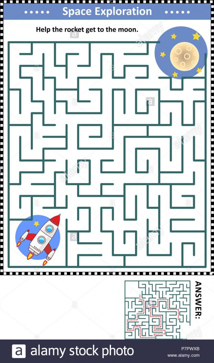 Space Exploration Themed Maze Game For Children With Rocket Or