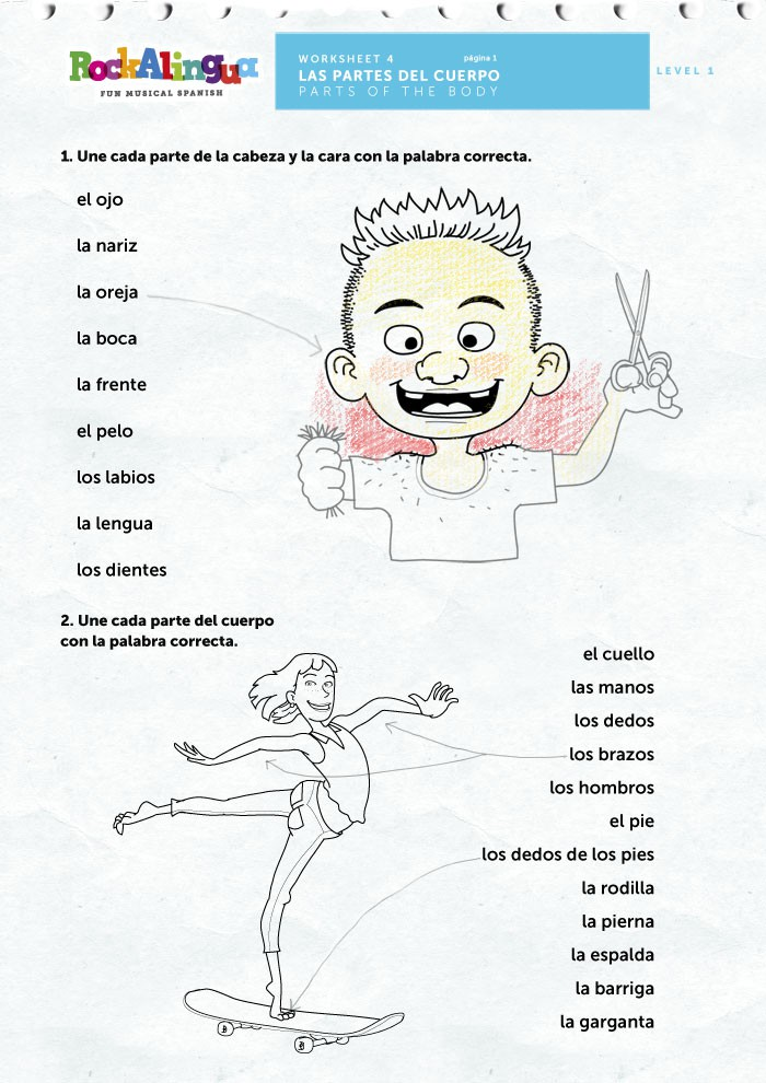 Spanish Worksheet To Teach Parts Of The Body