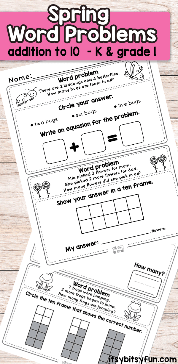 Spring Word Problems Addition To  Worksheets