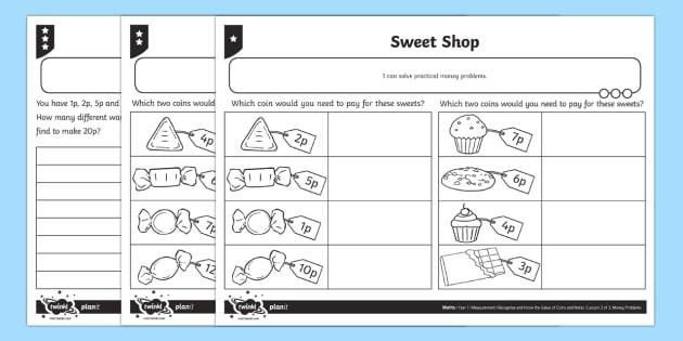 Sweet Shop Differentiated Worksheet  Worksheets