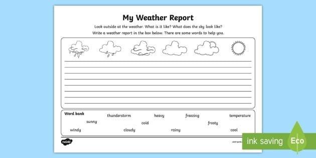 My Weather Report Worksheet Teacher Made