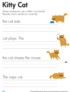 Fix The Sentences: Kitty Cat