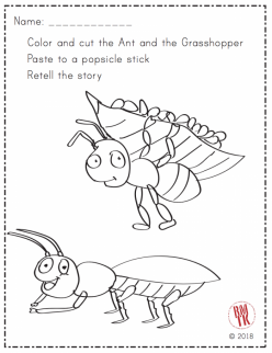 The Ant And The Grasshopper Story Cards