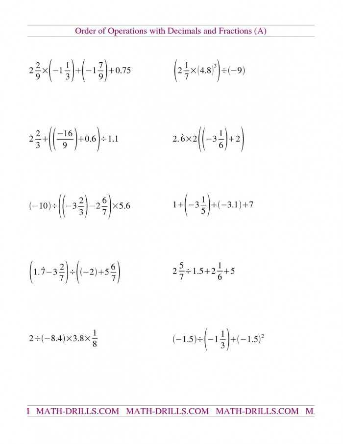 The Decimals And Fractions Mixed With Negatives A Math Worksheet