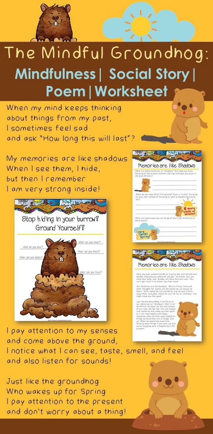 The Mindful Groundhog Mindfulness Social Story Poem   Worksheets