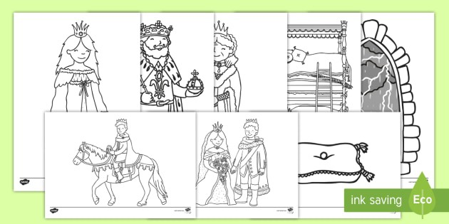 The Princess And The Pea Colouring Sheets Teacher Made