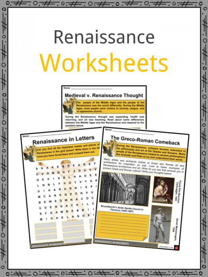The Renaissance Period Facts  Information  Worksheets  Culture   Arts