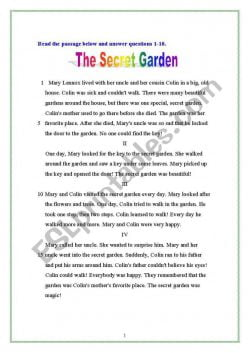 Reading Comprehension: The Secret Garden