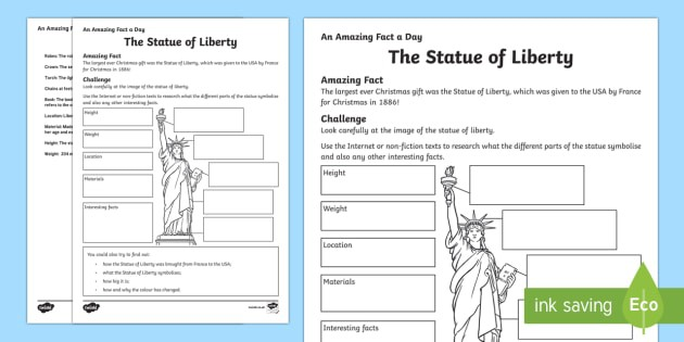 The Statue Of Liberty Worksheet  Worksheet