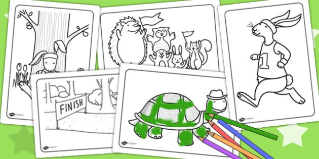 The Tortoise And The Hare Coloring Sheets Teacher Made
