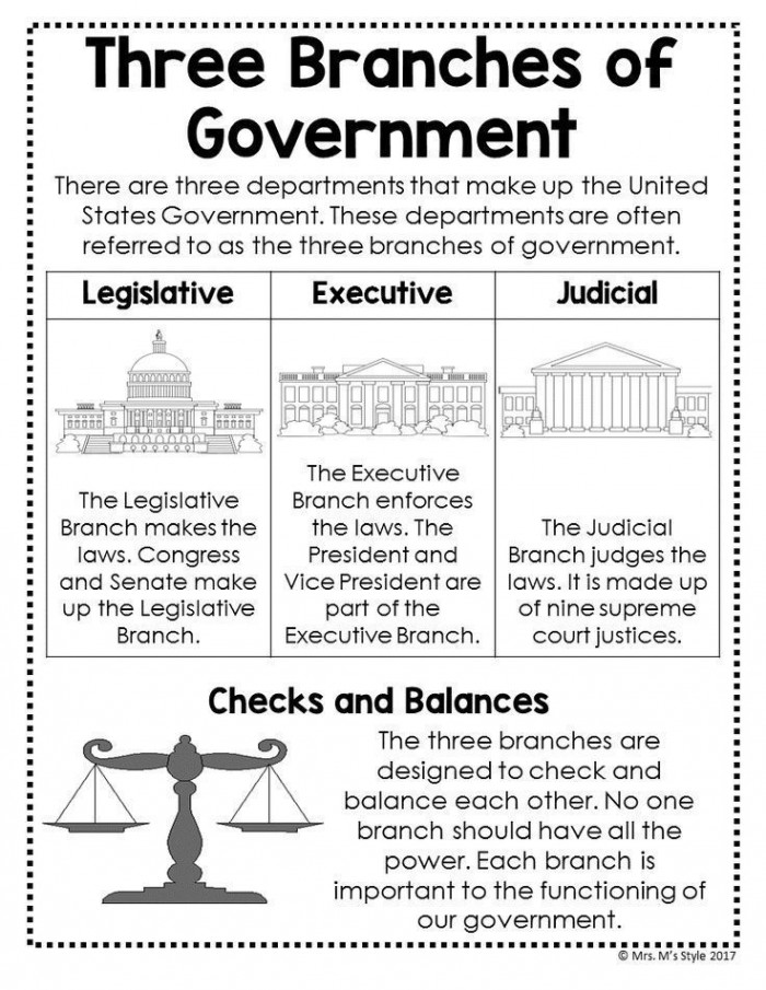 Three Branches Of Government Anchor Chart With Images