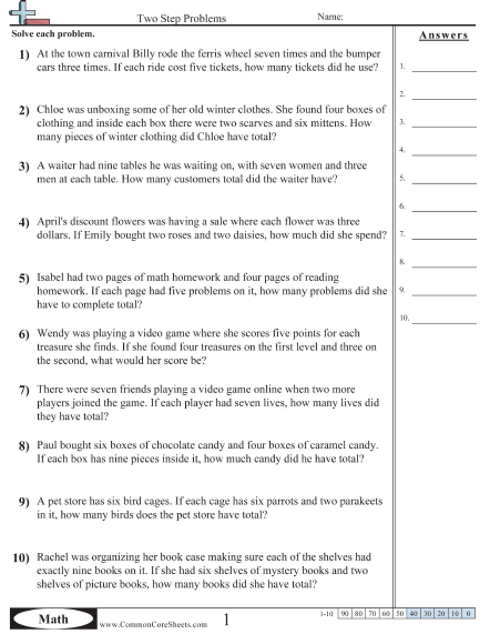Two-Step Addition And Subtraction Word Problems Check-In Worksheets  99Worksheets
