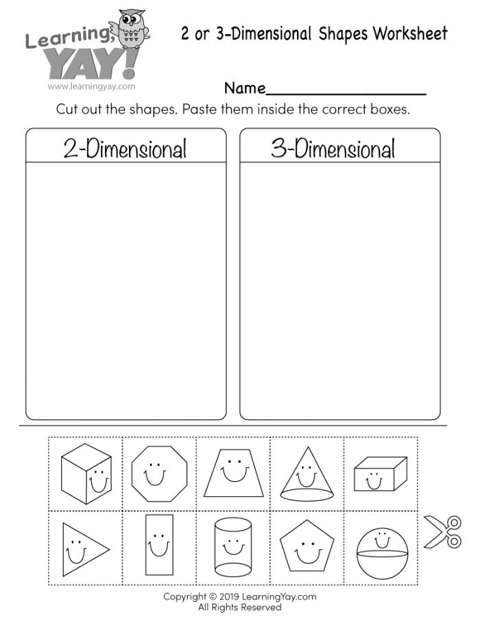 Sort 2d And 3d Shapes Worksheets 99worksheets - 19+ Kindergarten 2D And 3D Shapes Worksheets Pics