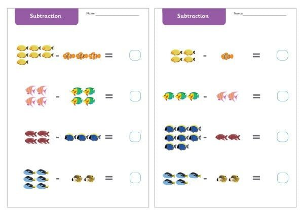 Early Learning Resources Under The Sea Subtraction Worksheets