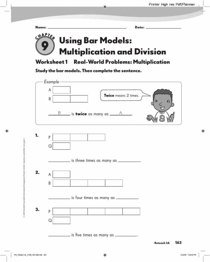 Using Bar Models Multiplication And Division